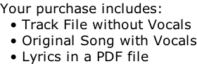 Your purchase includes:   • Track File without Vocals   • Original Song with Vocals   • Lyrics in a PDF file